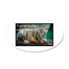 Tiger Coat Oval Car Magnet