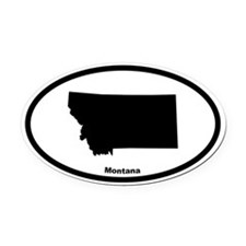 Montana State Outline Oval Car Magnet