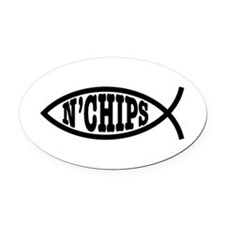 Fish n' Chips Oval Car Magnet