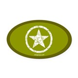 Green Star Oval Car Magnet