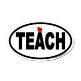 TEACH Euro Oval Car Magnet with Apple