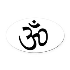 White Om Oval Car Magnet