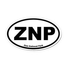 Zion National Park Oval Car Magnet