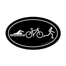 Triathlon Evolution Bumper Oval Car Magnet -Black