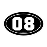 #08 Euro Bumper Oval Car Magnet -Black