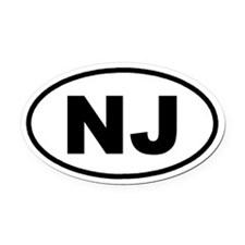 NJ New Jersey Euro Oval Car Magnet