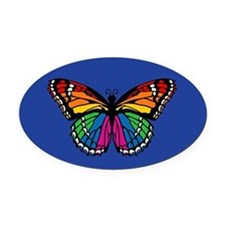 Rainbow Butterfly Oval Car Magnet