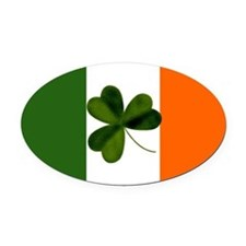 Irish Flag & Shamrock Oval Car Magnet