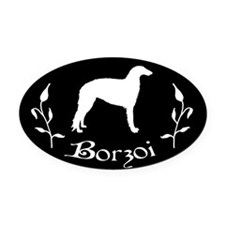 Borzoi Flower Vine Oval Car Magnet