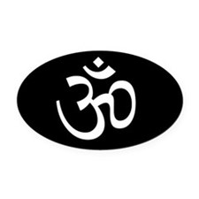 Black Om Oval Car Magnet