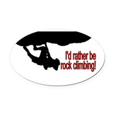 Rock Climbing Oval Car Magnet