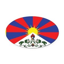 Tibet Flag Oval Car Magnet