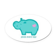 Smile Hippo Oval Car Magnet