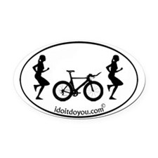 Cute Girls on the run Oval Car Magnet