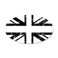 """Black Lines Union Jack"" Oval Car Magnet"