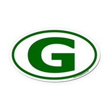 "Green ""G"" Oval Car Oval Car Magnet"