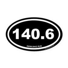 140.6 Swim Bike Run Ironman Black Oval Car Magnet