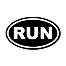 RUN Running Black Euro Oval Car Magnet