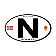 Norway Euro-style Code Oval Car Magnet