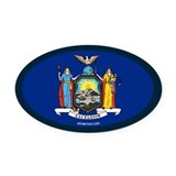 New York State Flag Oval Car Magnet