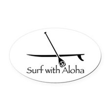 Surf with Aloha Oval Car Magnet