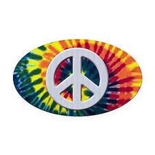 Tie-Dye Peace Oval Car Magnet