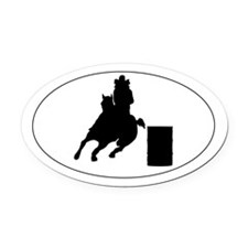 Barrel horse and rider - Oval Car Magnet