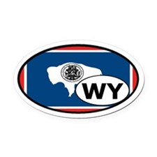 Wyoming State Flag Oval Car Magnet