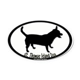 st thomas island dog blk and wht Oval Car Magnet