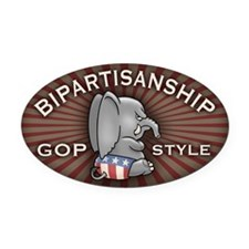 Bipartisan Oval Car Magnet