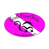Dive Flag Turtle Pink Oval Car Magnet