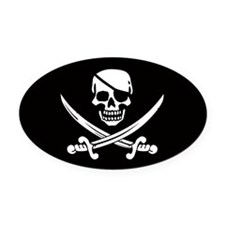 EyeOval Car Magnet Skull & Crossed Swords Oval Car