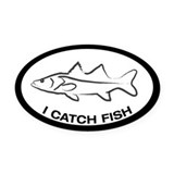 I CATCH FISH Oval Car Magnet