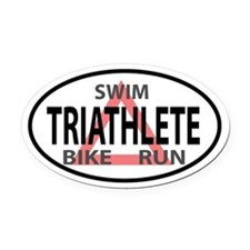 Triathlete Oval decal Oval Car Magnet