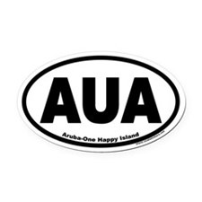 Aruba AUA Euro Oval Car Magnet (One Happy Island)