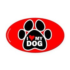 I Love my Dog Oval Car Magnet
