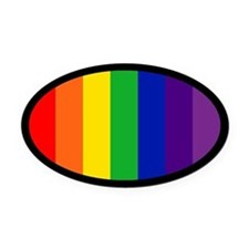 RAINBOW FLAG Oval Car Magnet