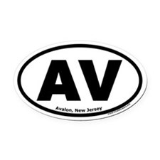 "Avalon, New Jersey ""AV"" Oval Car Magnet"