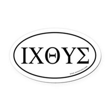 Greek Fish Oval Car Magnet -White (Oval)