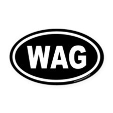 WAG the Dog Black Euro Oval Car Magnet