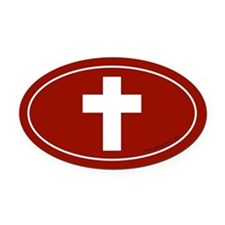 Cross (Crux Immissa) Oval Car Magnet -Red (Oval)