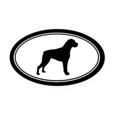 Boxer dog Silhouette Oval Car Magnet