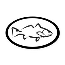 White Redfish Oval Car Magnet