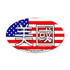"""USA"" Oval Car Magnet in Chinese Characters"