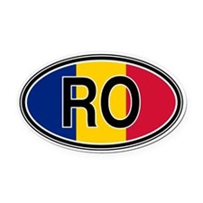 Romania Euro Oval Car Magnet
