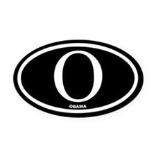 Barack Obama Black Euro Oval Car Magnet