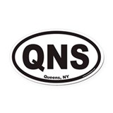 Queens New York QNS Euro Oval Car Magnet