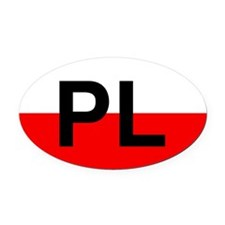 PL decal - Poland - flag colors - Oval Car Magnet