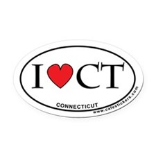 I Love Connecticut Oval Car Magnet