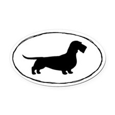 Wirehaired Dachshund Oval Car Magnetilhouette Oval